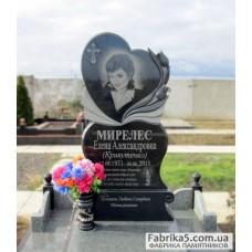 Женский памятник сердце с тюльпанами №12-005,Фигурные Одинарные памятники