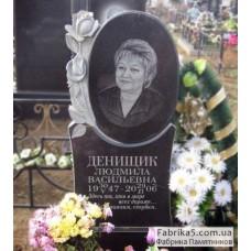 Женский памятник овал с розой №12-047,Фигурные Одинарные памятники