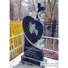 Памятник в форме сердца с крестом и розами №12-070,Фигурные Одинарные памятники