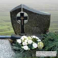 Итальянский памятник с крестом из зеленого гранита №13-025,Итальянские памятники