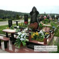 Женский памятник в форме цветка, гранитный комплекс №14-034,Элитные памятники