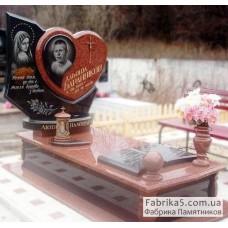 Элитный памятник с сердцем из красного гранита №14-037,Эксклюзивные памятники