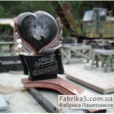 Эксклюзивный памятник с сердцем и цветами №14-066,Женские памятники
