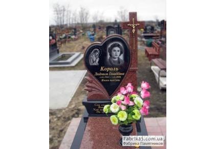 Женский памятник с сердцем и крестом №14-083, Женские памятники