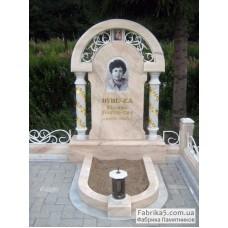 Эксклюзивный памятник из бежевого мрамора №14-093,Памятники с аркой