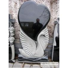 Памятник лебедь с сердцем №17-002,Памятники с Лебедем