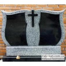 Двойной памятник из серого гранита №22-018,Памятники из серого гранита