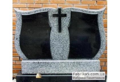 Двойной памятник из серого гранита №22-018, Памятники из серого гранита