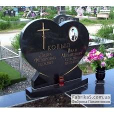 Двойной памятник в форме сердца №22-024,Фигурные двойные памятники