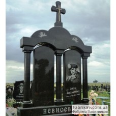 Двойной памятник с аркой из черного гранита  №24-015,Элитные двойные памятники