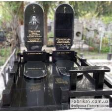 Престижный памятник на двоих из черного гранита №24-027,Элитные памятники