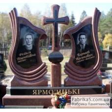 Эксклюзивный памятник на двоих с крестом №24-032,Памятники с крестом
