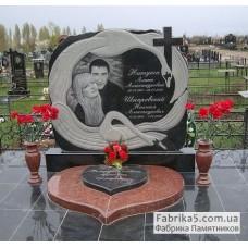 Эксклюзивный двойной памятник с лебедями №24-039,Памятники с Лебедем