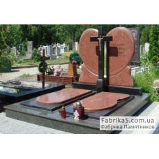 Элитный двойной памятник в виде сердца с крестом №24-044,Элитные памятники