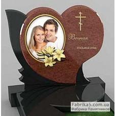 Красивый двойной памятник в виде сердца №24-046,Элитные двойные памятники