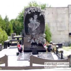 Высокий Двойной памятник с розами №24-047,Элитные двойные памятники