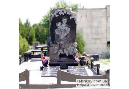 Высокий Двойной памятник с розами №24-047, Двойные памятники