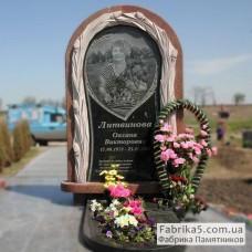 Эксклюзивный женский памятник с цветами №24-049,Эксклюзивные памятники