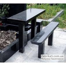 Стол и скамейка из гранита №83-001,Столики и скамейки