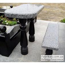 Стол и скамейка из гранита №83-005,Столики и скамейки