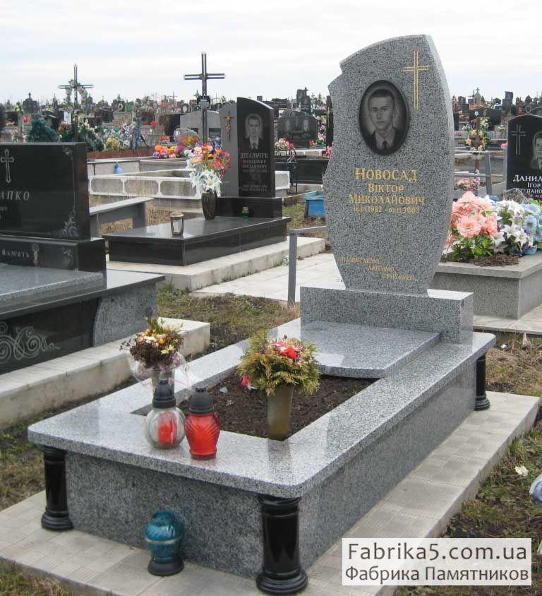 Памятник из серого гранита №13-013