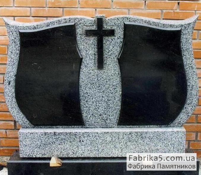 Фигурные памятник из серого гранита на двоих №22-018