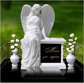 Памятники из мрамора со скорбящим ангелом, белый ангел на могилу, ангел с крыльями и цветами