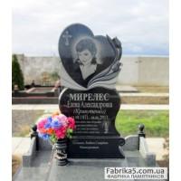 Женский памятник сердце с тюльпанами №12-005