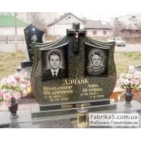 Красивый двойной памятник из зеленого гранита   №23-045