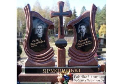 Эксклюзивный памятник на двоих с крестом №24-032, Двойные памятники