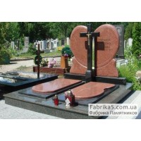 Элитный двойной памятник в виде сердца с крестом №24-044