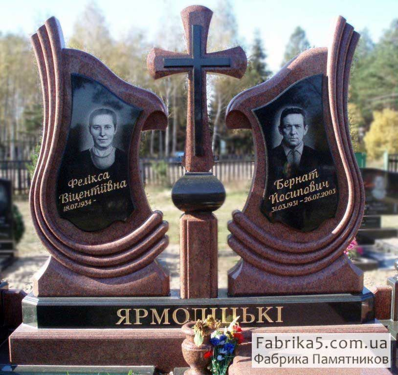 Эксклюзивный памятник на двоих с крестом №24-032, Гранитные памятники Одесса